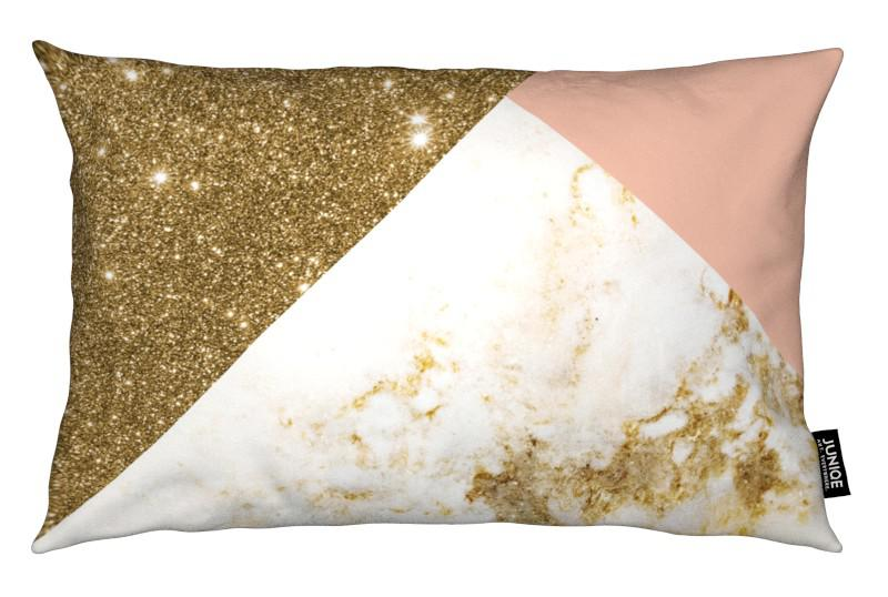 Pink and gold marble collage als kissen von cafelab juniqe - Coussin rose gold ...