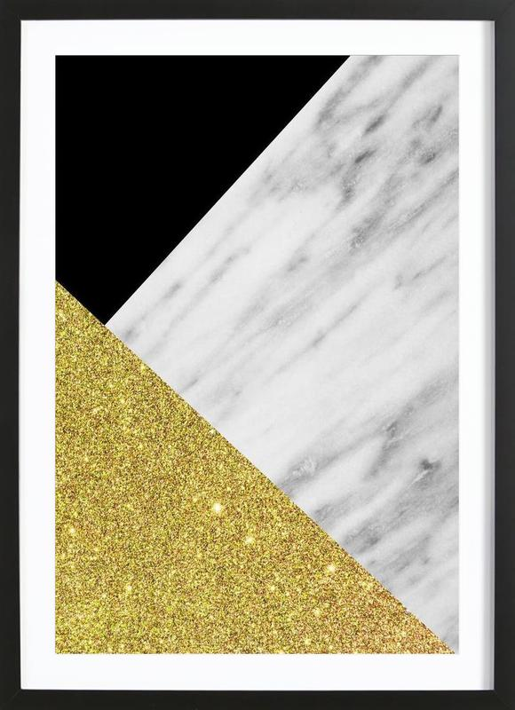 Gold Marble Collage as Poster in Wooden Frame by cafelab | JUNIQE UK