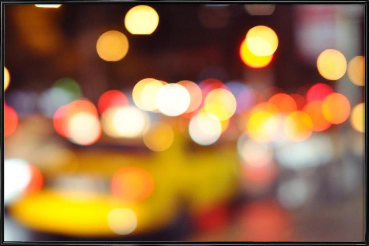 New York Taxi Bokeh as Poster in Standard Frame | JUNIQE