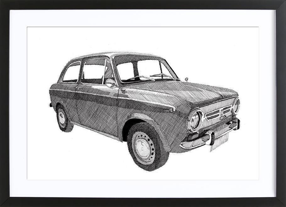 Fiat 850 as Poster in Wooden Frame by RikReimert | JUNIQE