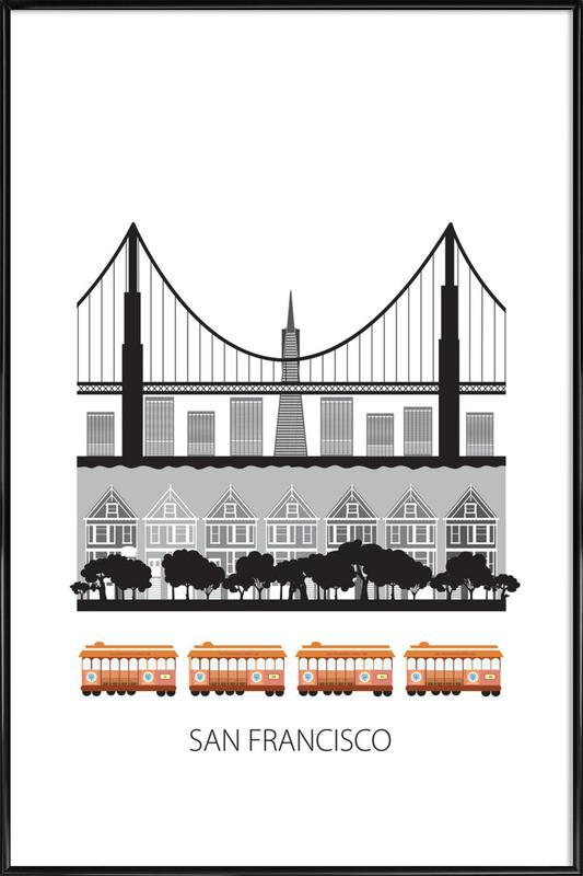 San Francisco as Poster in Standard Frame by Forma Nova   JUNIQE UK