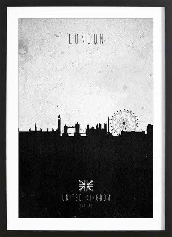 London Contemporary Cityscape as Poster in Wooden Frame | JUNIQE UK