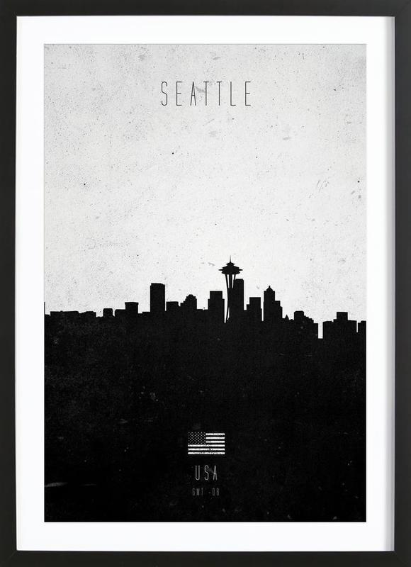 Seattle Contemporary Cityscape as Poster in Wooden Frame   JUNIQE
