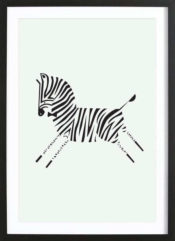 Zebra as Poster in Wooden Frame by Patricia Mafra | JUNIQE