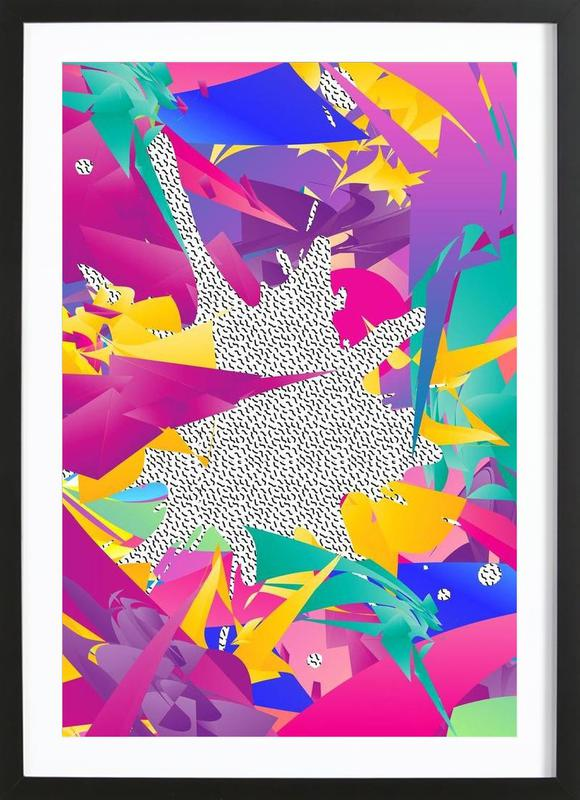 80 s abstract as poster in wooden frame by danny ivan juniqe