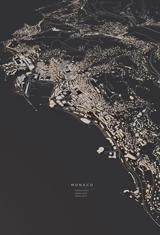 Monaco City Map as Aluminium Print by Maptastix JUNIQE