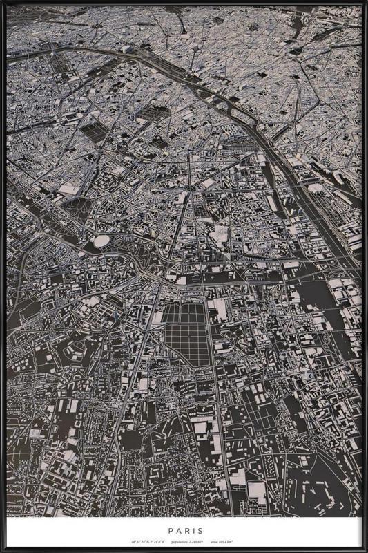 Paris City Map als Poster im Kunststoffrahmen von Maptastix ...