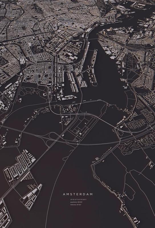 amsterdam city map as aluminium print by maptastix juniqe