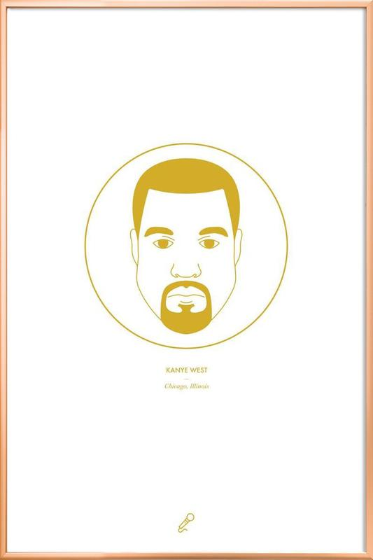 kanye west as poster in aluminium frame by dean robert smith juniqe