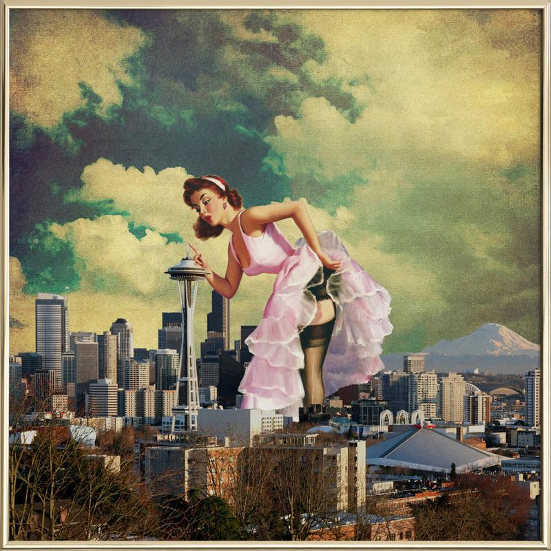 Seattle Pinup as Poster in Aluminium Frame by Jason Brueck | JUNIQE