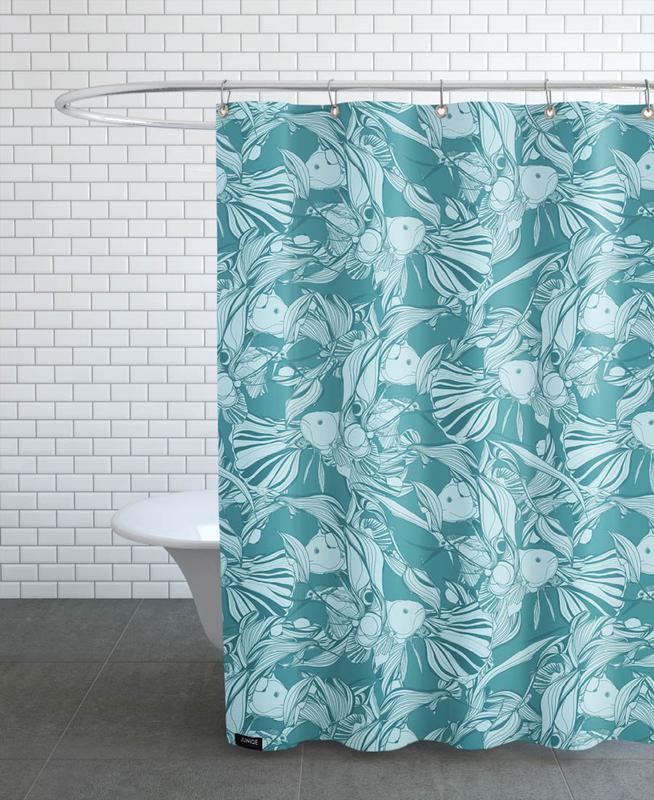 birds and fish t rkis als duschvorhang von giulio iurissevich juniqe. Black Bedroom Furniture Sets. Home Design Ideas