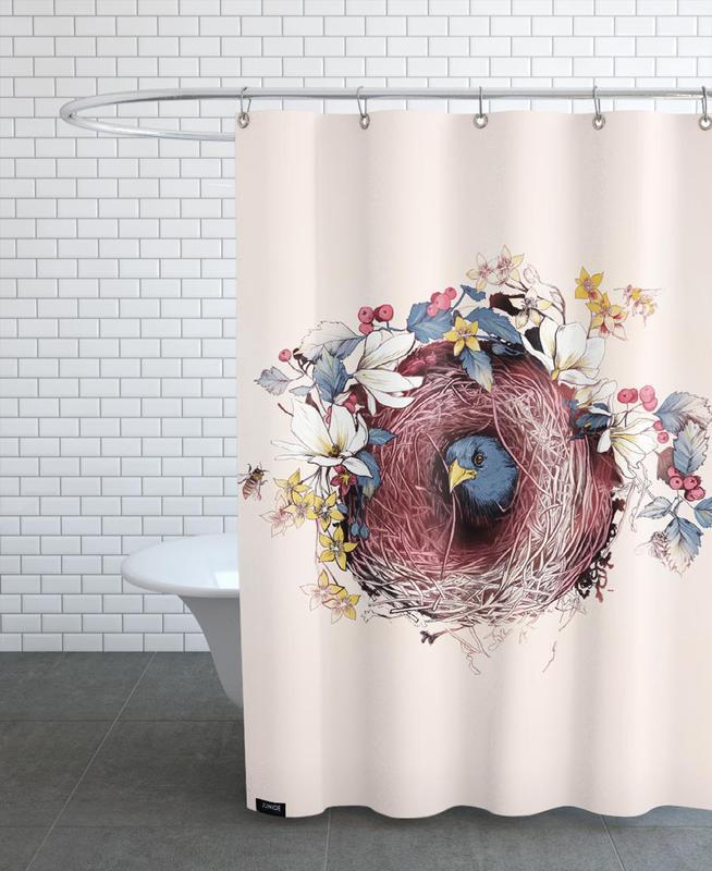 nesting als duschvorhang von la scarlatte juniqe. Black Bedroom Furniture Sets. Home Design Ideas