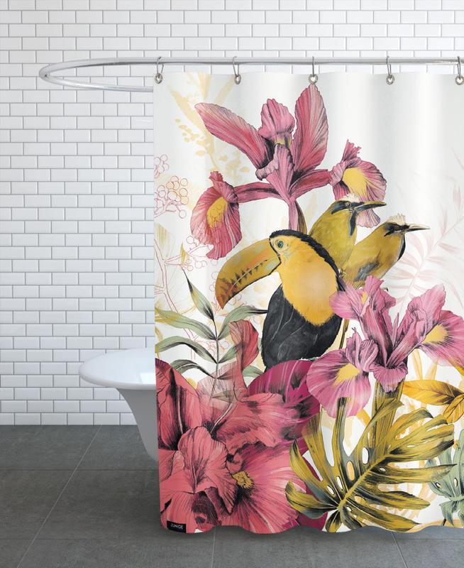 tropical garden tucan als duschvorhang von la scarlatte juniqe ch. Black Bedroom Furniture Sets. Home Design Ideas