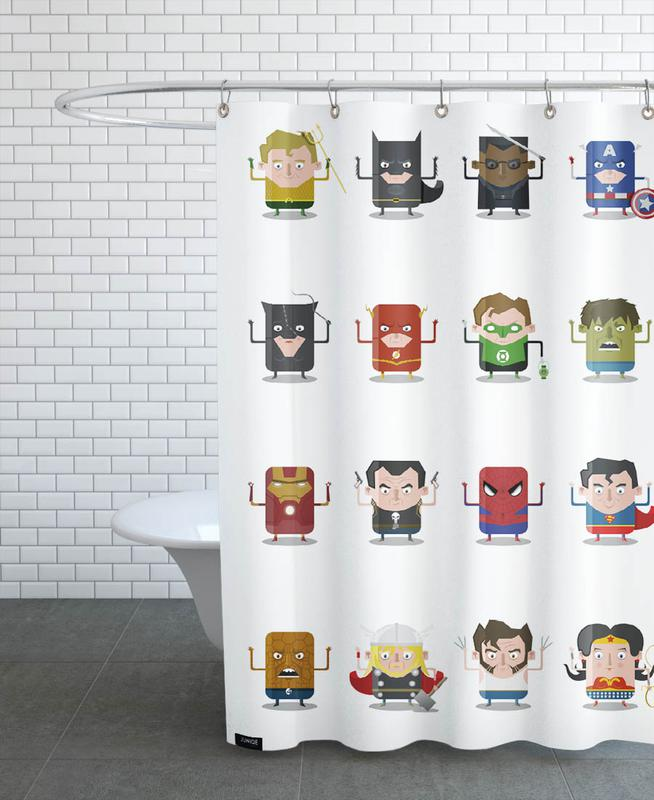 Superheroes As Shower Curtain By Ballooon