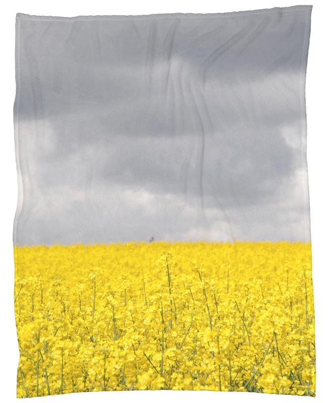grey sky meets yellow fields as fleece blanket juniqe