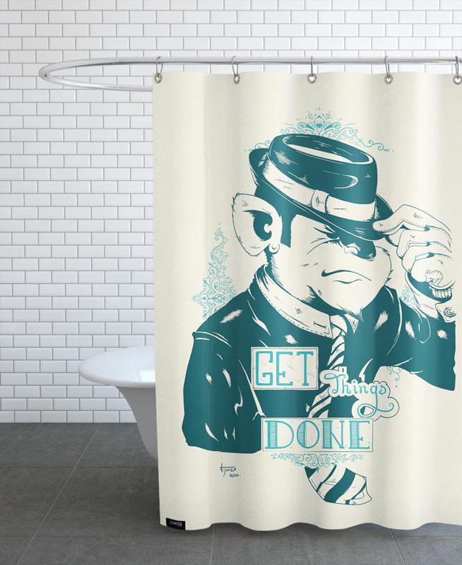 get things done als duschvorhang von itchi5 juniqe ch. Black Bedroom Furniture Sets. Home Design Ideas