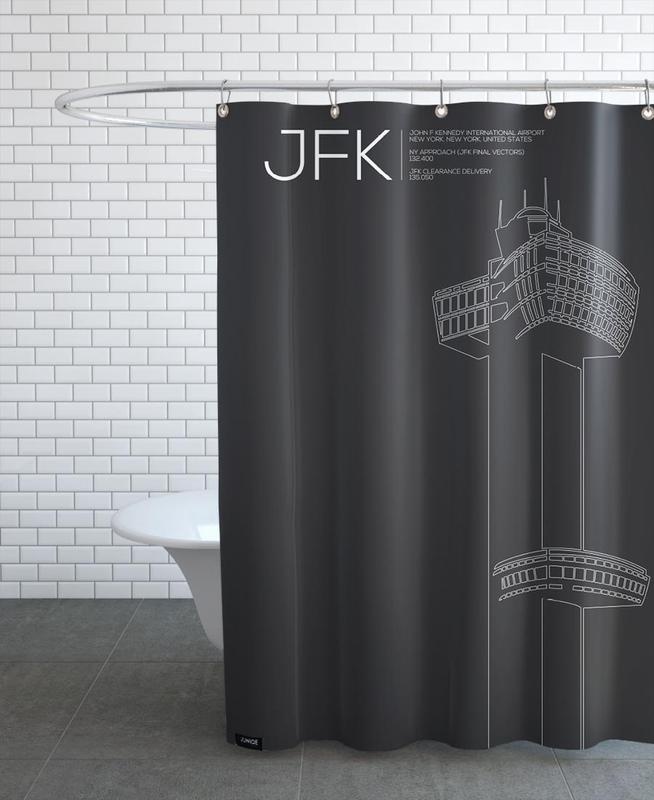 jfk new york tower black en rideau de douche par 08left juniqe. Black Bedroom Furniture Sets. Home Design Ideas