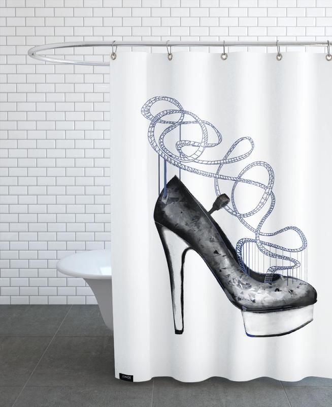 Blue Shoe Shower Curtain