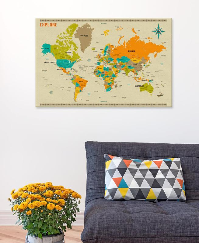 New world map as canvas print by jazzberry blue juniqe uk new world map canvas print publicscrutiny Choice Image