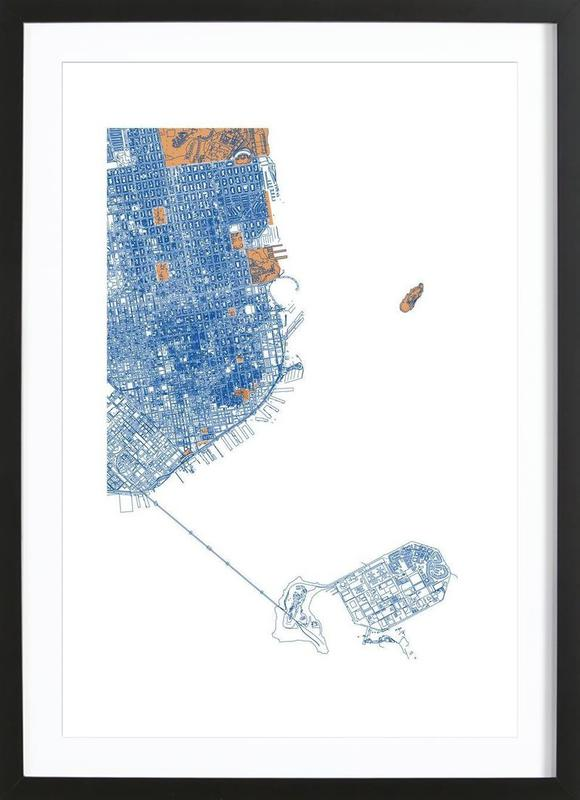 San Francisco as Poster in Wooden Frame by Mattygug | JUNIQE