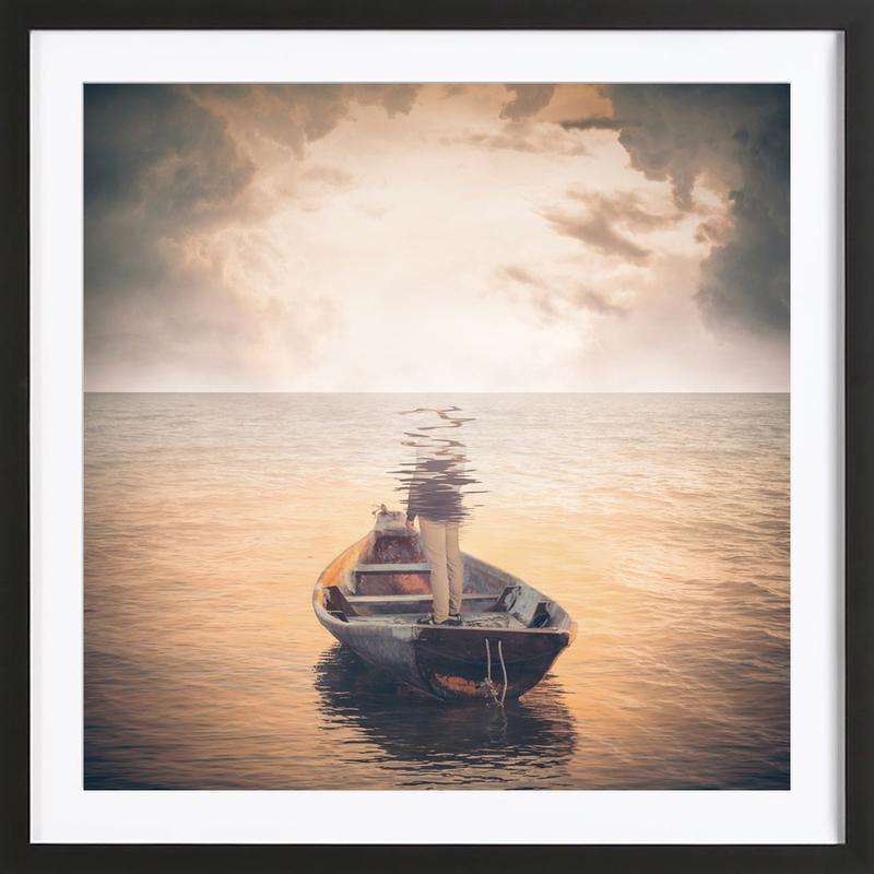 Glas Sea als Poster im Holzrahmen von Eugene Soloviev | JUNIQE