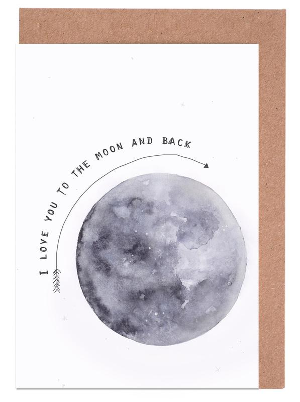 Moon as greeting card set by kruth design juniqe m4hsunfo