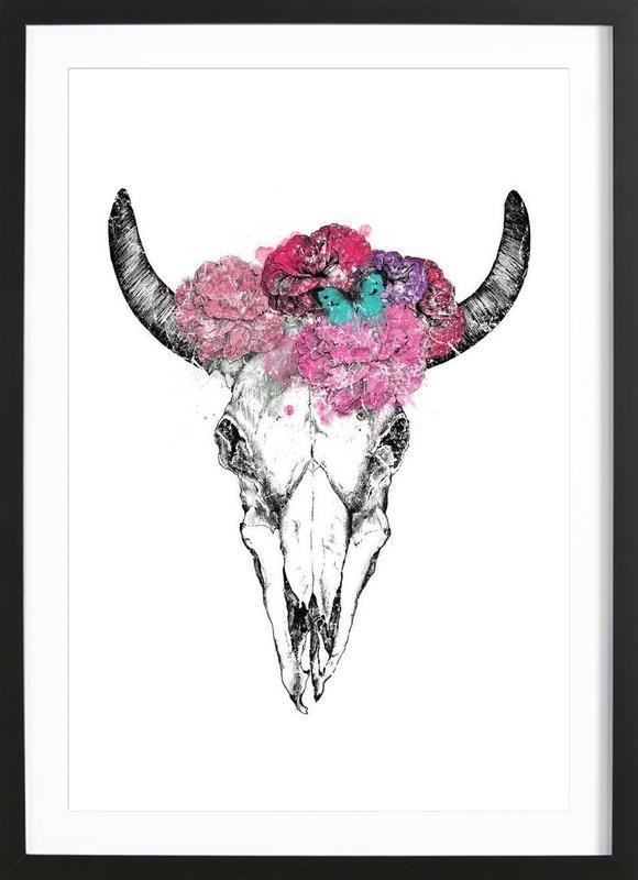 Skull as Poster in Wooden Frame by KRUTH DESIGN | JUNIQE