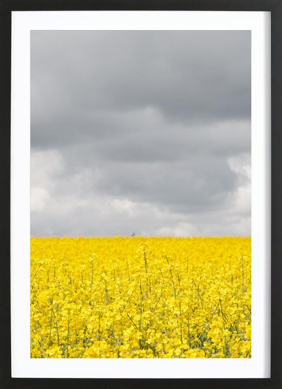 Grey Sky Meets Yellow Fields as Poster in Wooden Frame   JUNIQE