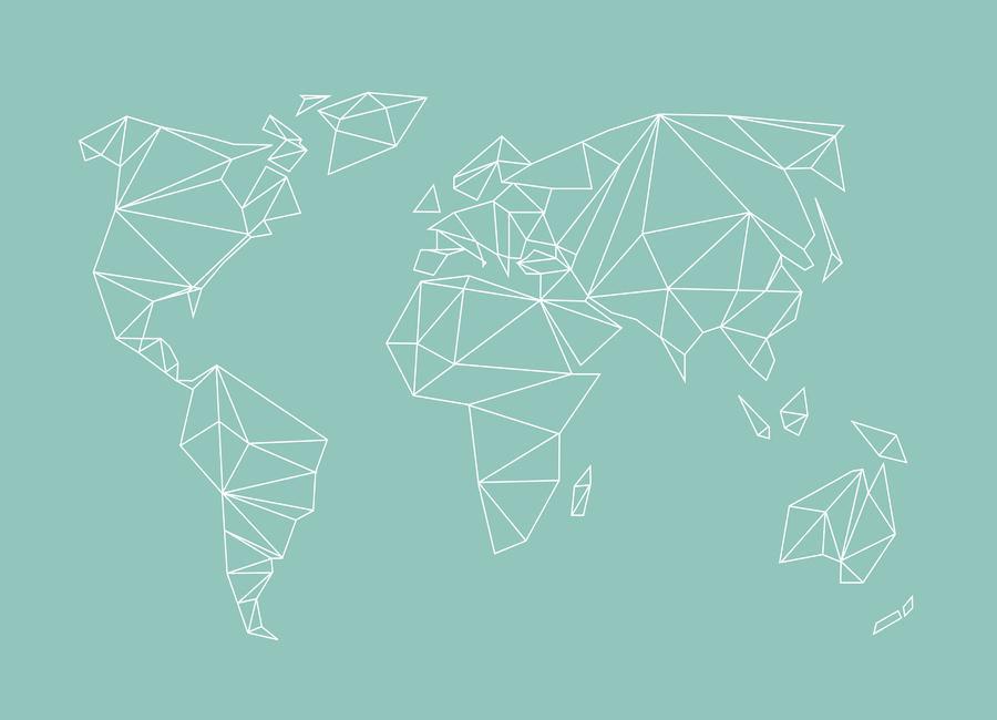 geometrical world green as canvas print by studio nahili juniqe