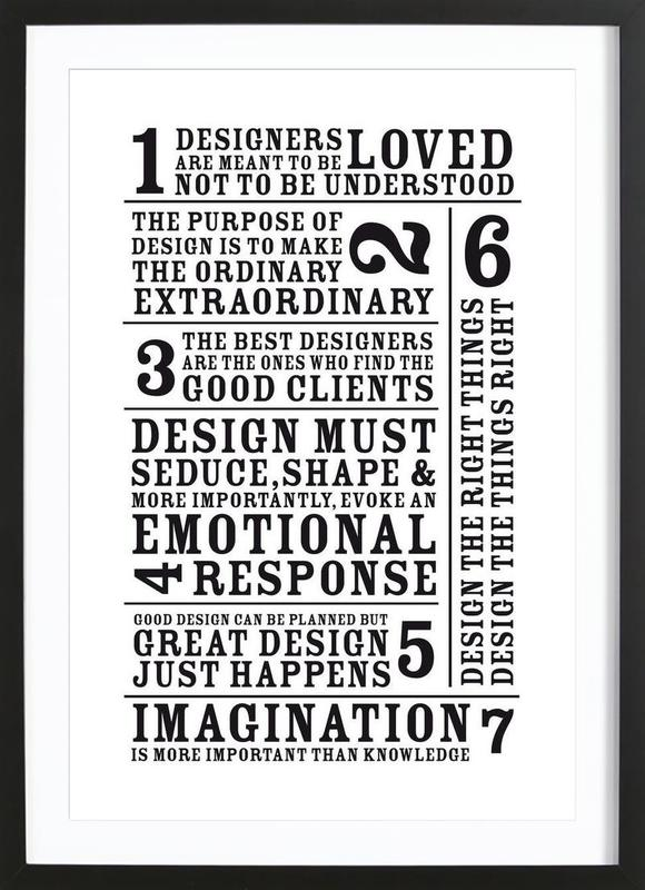 7 Rules as Poster in Wooden Frame by Mr-Cup   JUNIQE