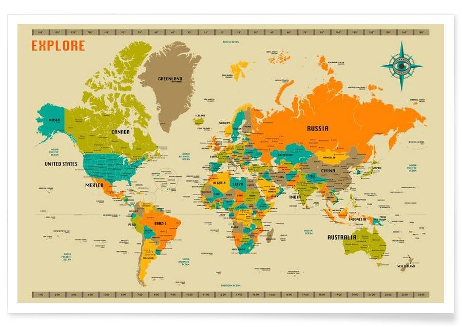 New world map as premium poster by jazzberry blue juniqe uk home wall art wall art gumiabroncs Image collections