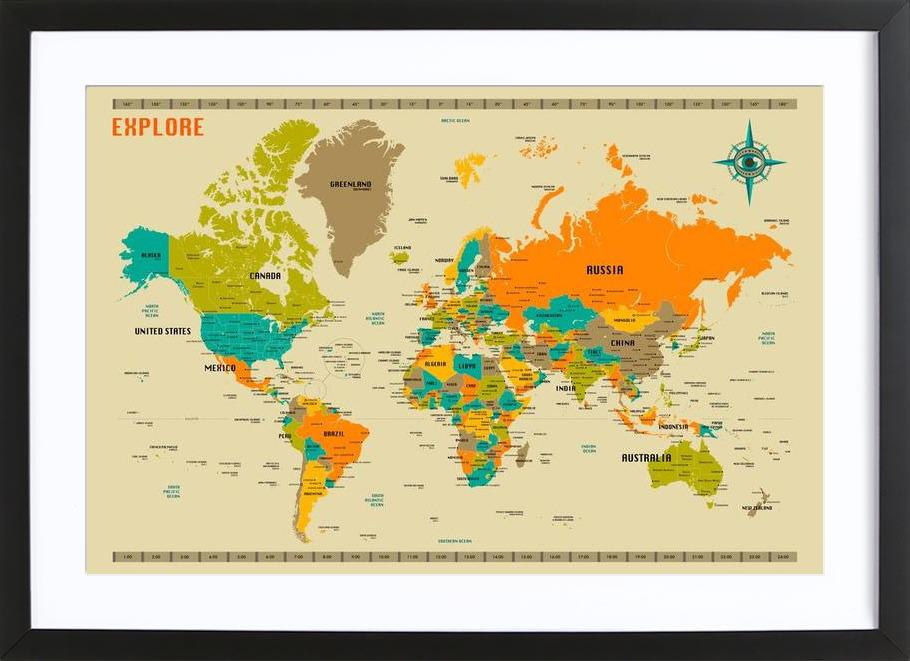 New world map as poster in wooden frame by jazzberry blue juniqe uk gumiabroncs Choice Image