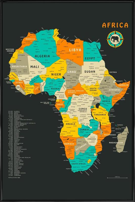 Africa Map as Poster in Standard Frame by Jazzberry Blue JUNIQE