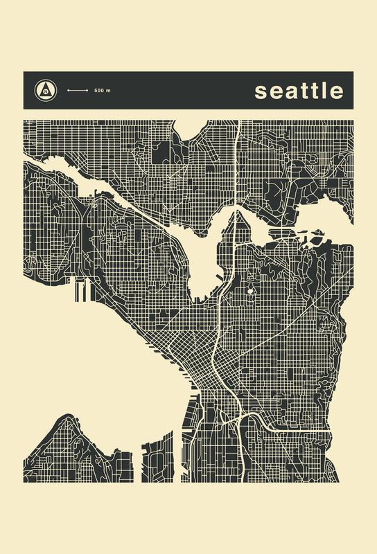 City Maps Series 3 Series 3 - Seattle als Acrylglasbild   JUNIQE