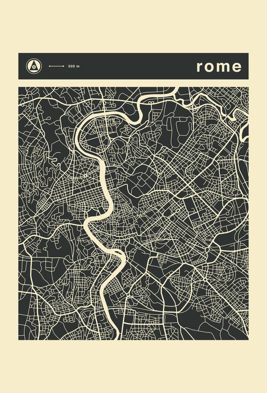 City Maps Series 3 Series 3 - Rome als Acrylglasbild   JUNIQE