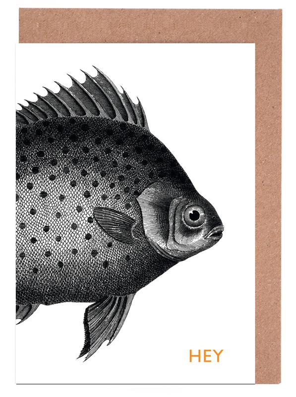 Hey fish as greeting card set by the gently unfurling sneak juniqe home stationery greeting cards m4hsunfo