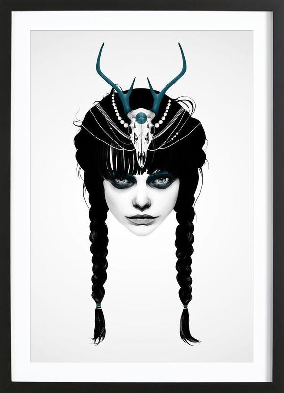 Wakeful warrior as poster in wooden frame by ruben ireland juniqe
