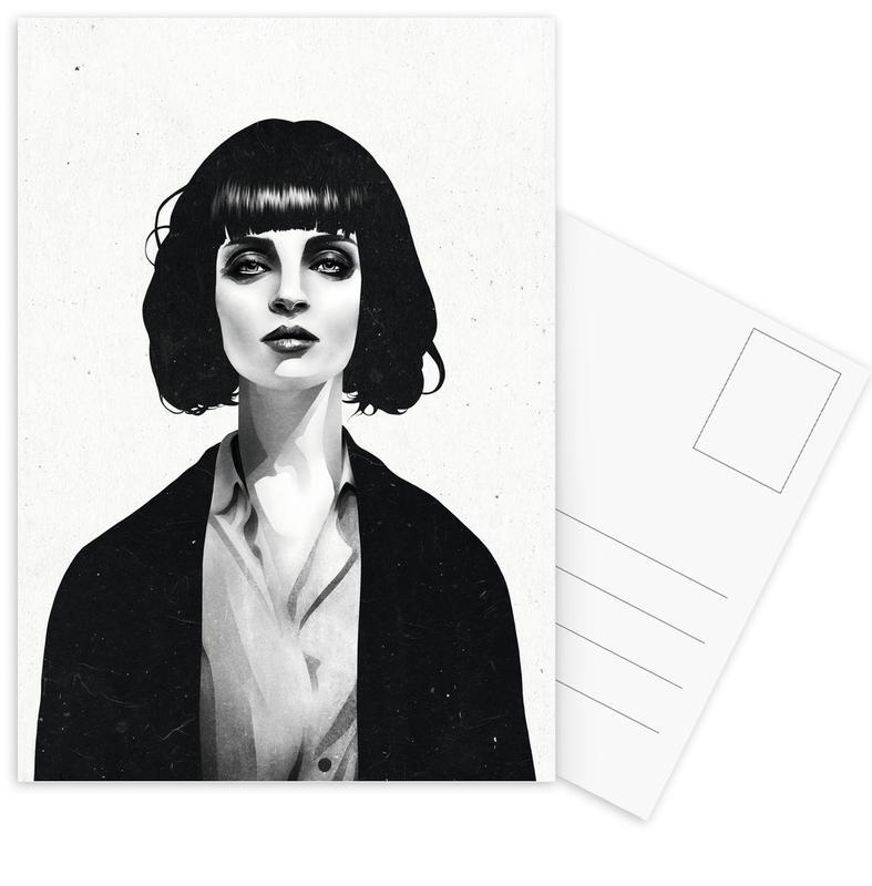 mrs mia wallace als postkartenset von ruben ireland juniqe. Black Bedroom Furniture Sets. Home Design Ideas