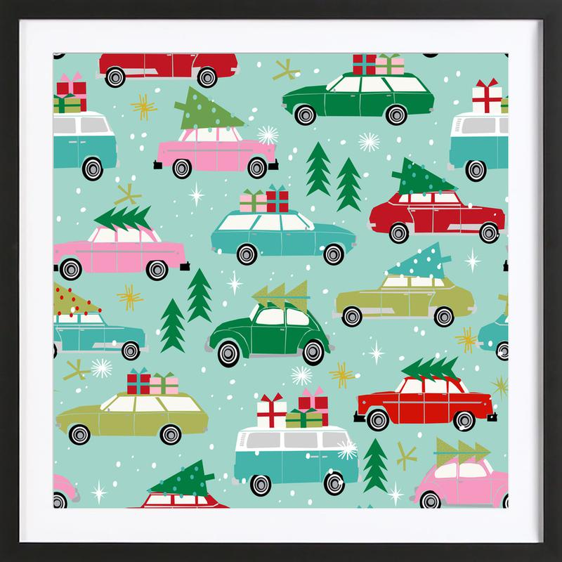 Christmas Cars En Affiche Sous Cadre En Bois Juniqe