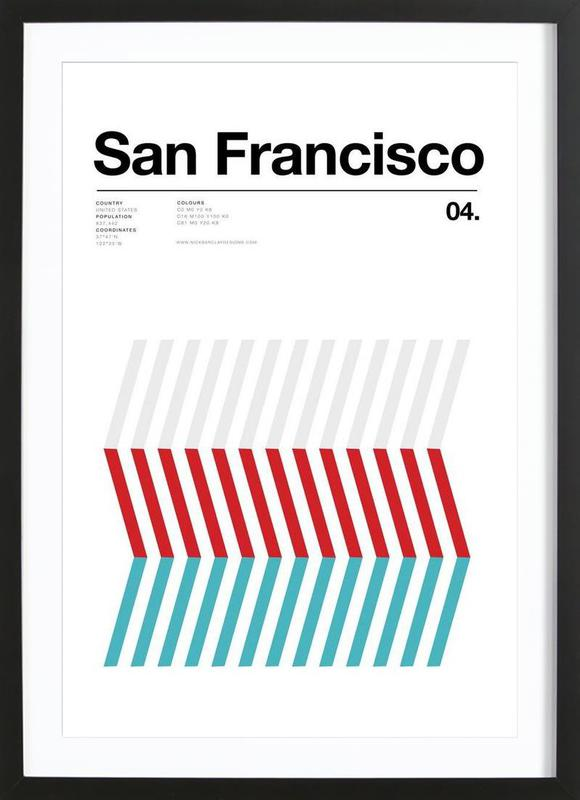 San Fran as Poster in Wooden Frame by Nick Barclay | JUNIQE