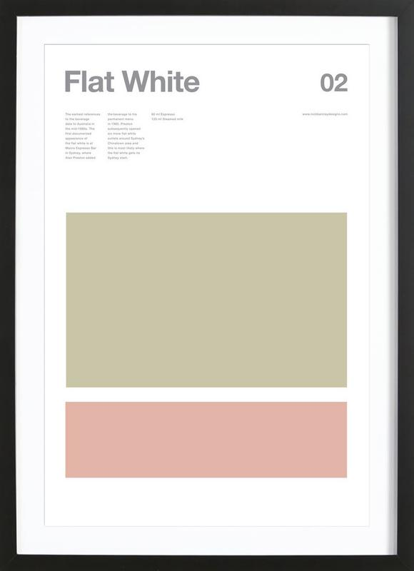 Flat White as Poster in Wooden Frame by Nick Barclay   JUNIQE