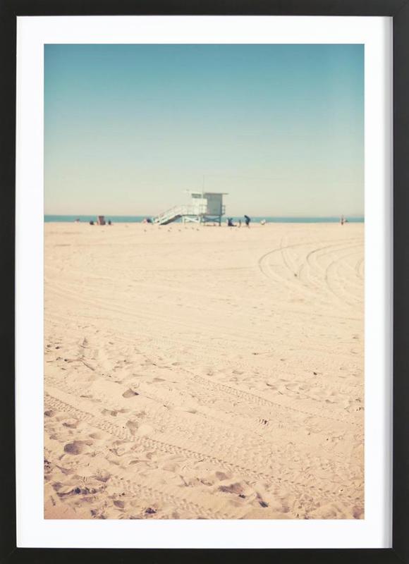 Santa Monica Beach Hut as Poster in Wooden Frame | JUNIQE