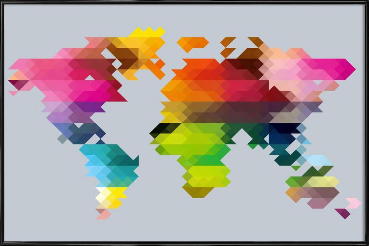 Geo world map as poster in standard frame juniqe gumiabroncs Gallery