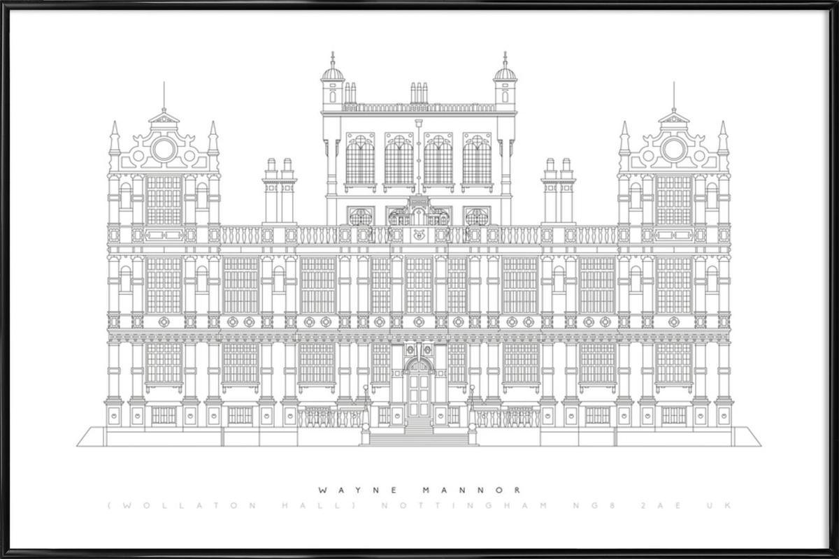 Wayne Manor als Poster im Kunststoffrahmen von Mat Voyce | JUNIQE