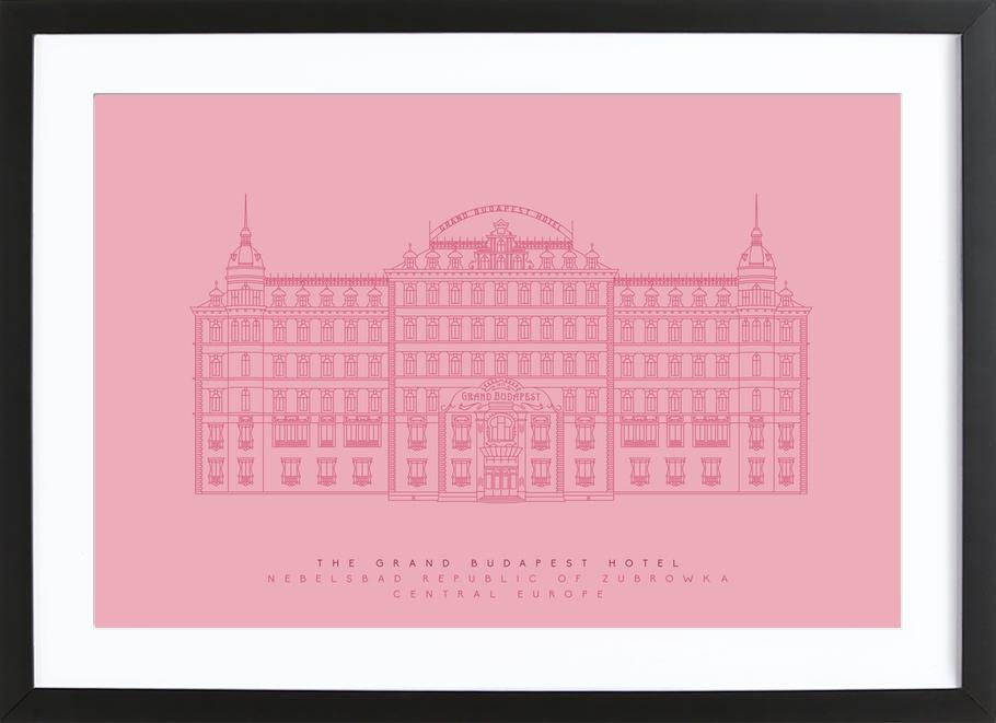 The Grand Budapest Hotel Pink As Poster In Wooden Frame Juniqe Uk