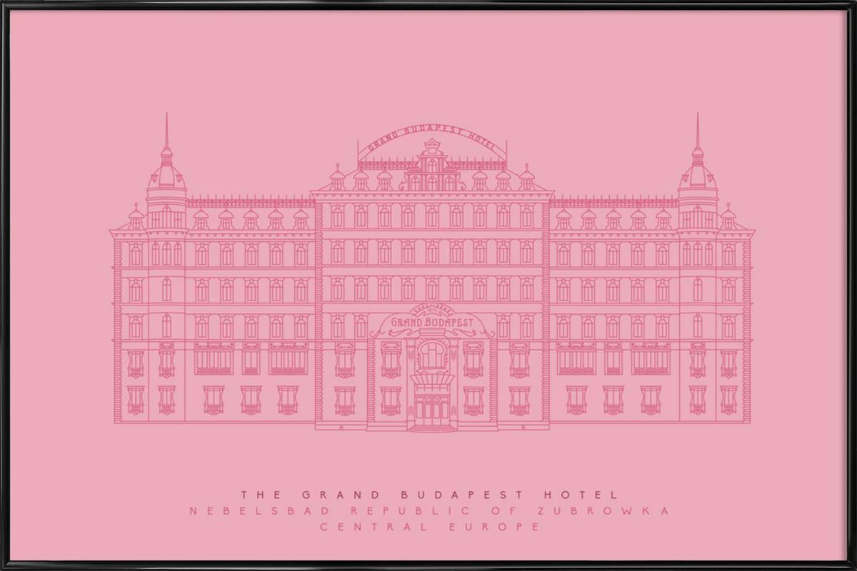 the grand budapest hotel pink as poster in standard frame juniqe