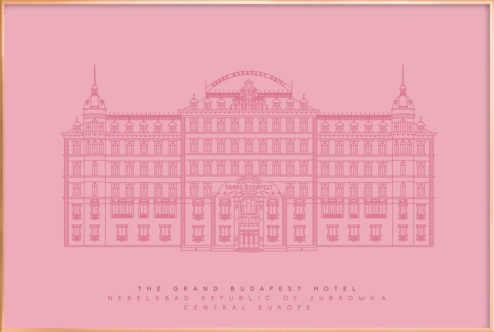 The Grand Budapest Hotel Pink As Poster In Aluminium Frame Juniqe Uk