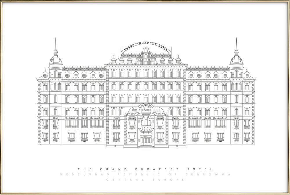 Grand Budapest Hotel As Poster In Aluminium Frame Juniqe Uk