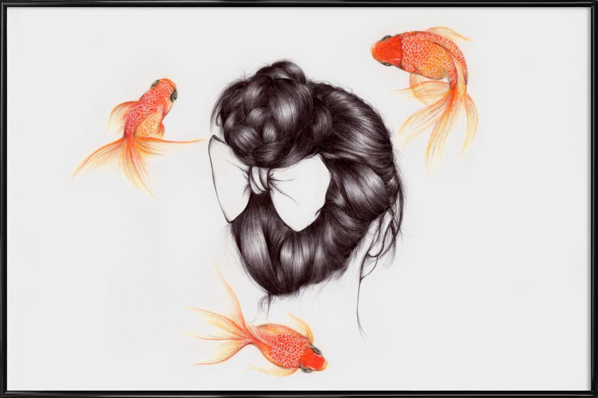 Fish Hair 2 as Poster in Standard Frame by The White Deer | JUNIQE