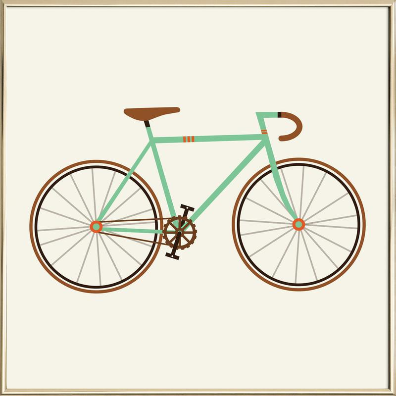 Green Fixie as Poster in Aluminium Frame by Karin Bijlsma | JUNIQE